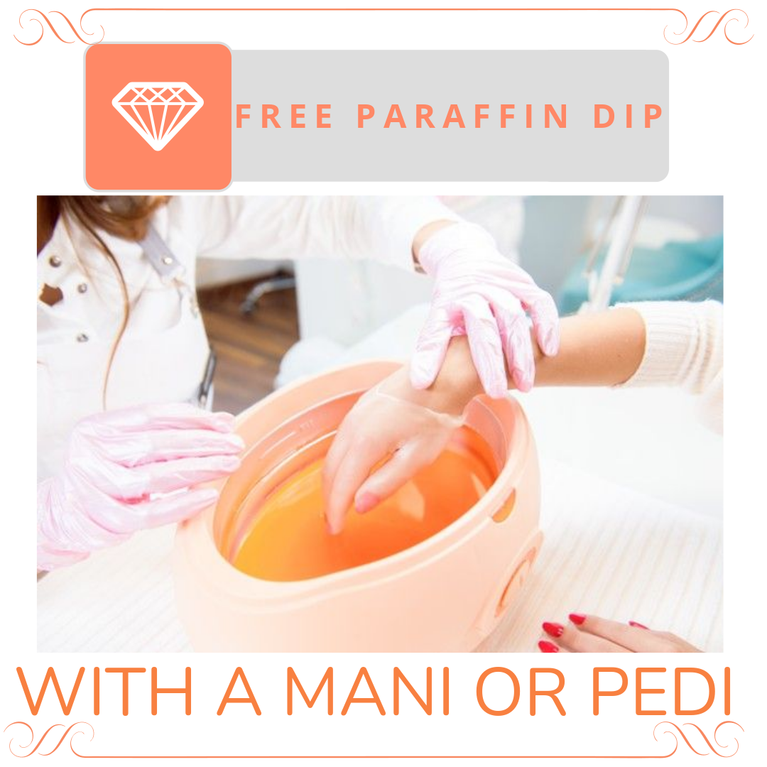 Free paraffin Dip with manicure or pedicure at spa hillcrest
